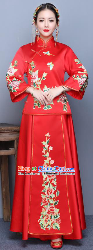 Traditional Ancient Chinese Wedding Costume Handmade XiuHe Suits Embroidery Peony Longfeng Gown Bride Toast Plated Buttons Cheongsam, Chinese Style Hanfu Wedding Clothing for Women