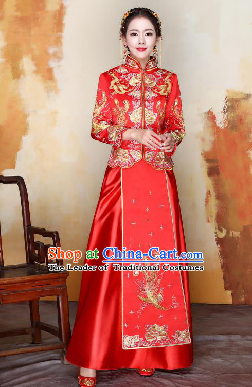 Traditional Ancient Chinese Wedding Costume Handmade XiuHe Suits Embroidery Phoenix Xi Clothing Bride Toast Cheongsam, Chinese Style Hanfu Wedding Clothing for Women