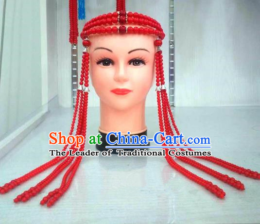 Traditional Handmade Chinese Mongol Nationality Handmade Red Beads Tassel Hair Accessories, China Mongols Mongolian Minority Nationality Wedding Headwear for Women