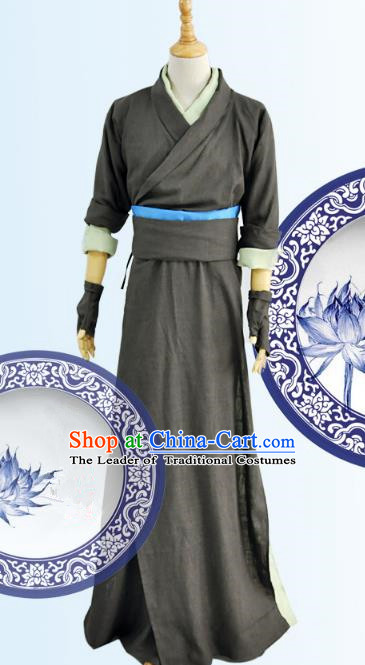 Chinese Ancient Cosplay Swordsman Costumes, Chinese Traditional Clothing Chinese Cosplay Knight Costume for Men