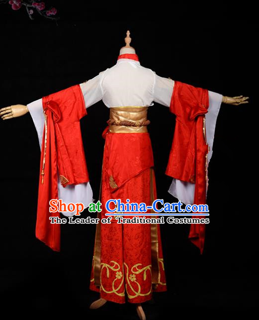 Chinese Ancient Cosplay Han Dynasty Royal Princess Costumes, Chinese Traditional Red Dress Clothing Chinese Cosplay Swordsman Costume for Women
