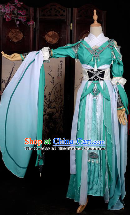 Chinese Ancient Cosplay Tang Dynasty Swordswoman Costumes, Chinese Traditional Green Hanfu Dress Clothing Chinese Cosplay Imperial Princess Costume for Women