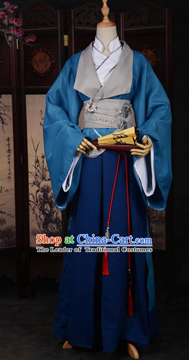Chinese Ancient Cosplay Tang Dynasty Swordsman Clothing, Chinese Traditional Hanfu Robe Chinese Cosplay Knight Costume for Men