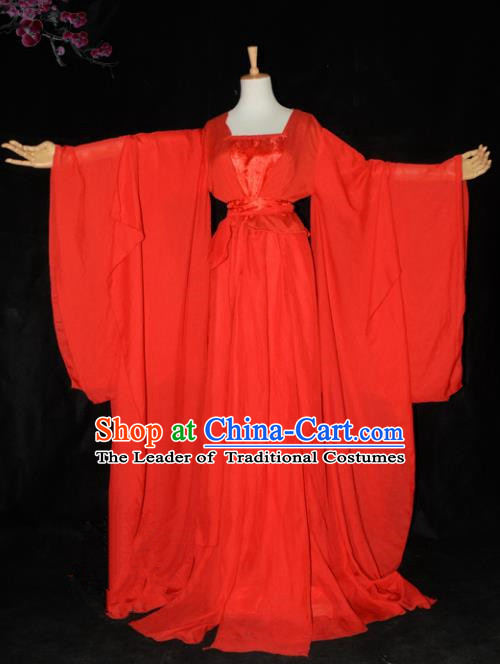 Chinese Ancient Cosplay Tang Dynasty Princess Wedding Costumes, Chinese Traditional Red Fairy Dress Clothing Chinese Cosplay Palace Lady Costume for Women