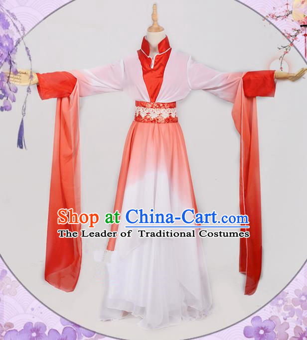 Chinese Ancient Cosplay Han Dynasty Fairy Costumes, Chinese Traditional Red Hanfu Dress Clothing Chinese Cosplay Princess Costume for Women