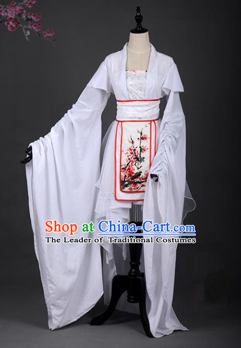 Chinese Ancient Cosplay Han Dynasty Young Lady Costumes, Chinese Traditional Embroidery Plum Blossom Hanfu Dress Clothing Chinese Cosplay Fairy Costume for Women