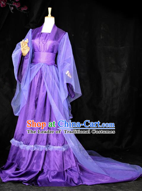 Chinese Ancient Cosplay Tang Dynasty Imperial Consort Costumes, Chinese Traditional Hanfu Purple Dress Clothing Chinese Palace Lady Costume for Women