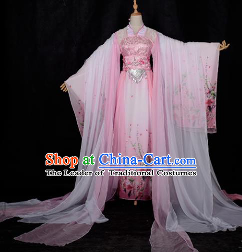 Chinese Ancient Cosplay Tang Dynasty Princess Dance Pink Embroidery Dress, Chinese Traditional Hanfu Clothing Chinese Fairy Palace Lady Costume for Women