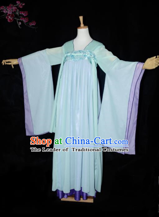 Chinese Ancient Cosplay Tang Dynasty Princess Fairy Green Dress, Chinese Traditional Hanfu Clothing Chinese Palace Lady Costume for Women