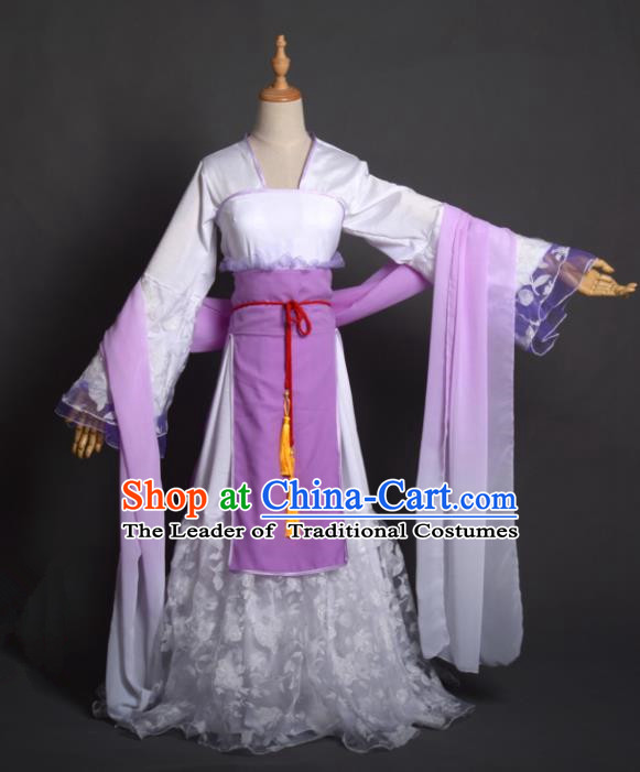Chinese Ancient Cosplay Tang Dynasty Palace Lady Embroidery Purple Dress, Chinese Traditional Hanfu Clothing Chinese Princess Fairy Costume for Women