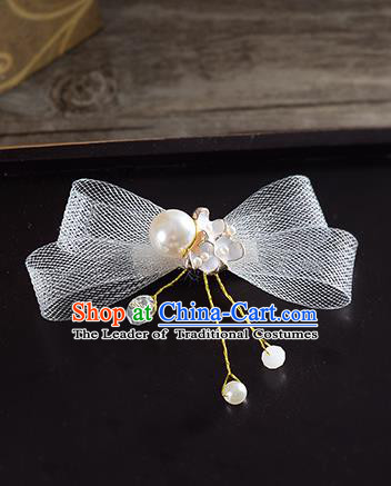 Traditional Handmade Chinese Ancient Classical Wedding Hair Accessories Bride Bowknot Hair Stick, China Princess Hairpins Headwear for Women