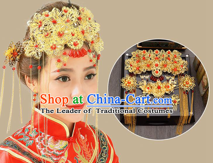 Traditional Handmade Chinese Ancient Classical Hair Accessories Xiuhe Suit Red Beads Golden Hairpin Complete Set, Tassel Step Shake Hair Sticks Hair Jewellery Hair Fascinators for Women