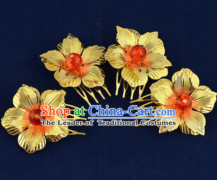 Traditional Handmade Chinese Ancient Classical Hair Accessories Xiuhe Suit Golden Flower Hairpin Hair Comb, Hair Sticks Hair Jewellery Hair Fascinators for Women