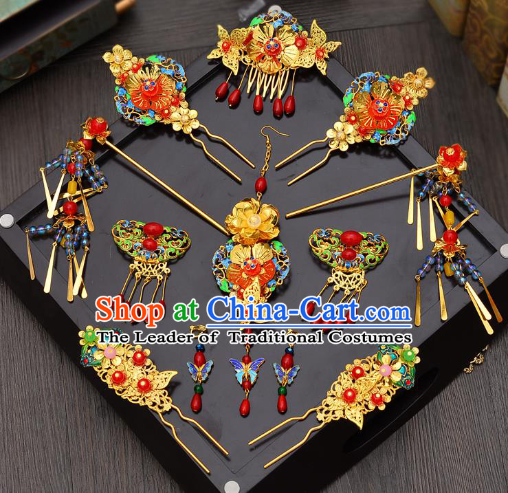 Traditional Handmade Chinese Ancient Classical Hair Accessories Xiuhe Suit Hairpin Cloisonn Phoenix Coronet Complete Set, Hair Sticks Hair Jewellery Hair Fascinators for Women