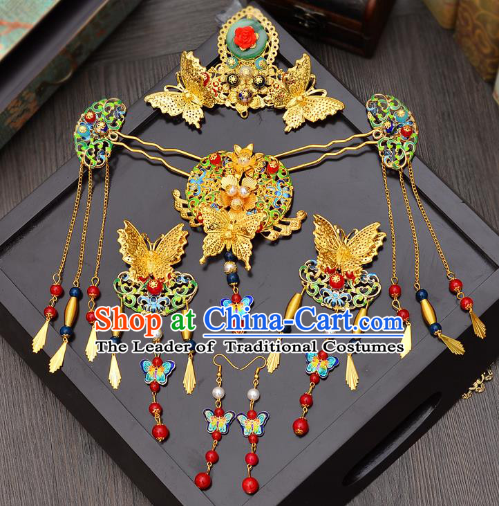 Traditional Handmade Chinese Ancient Classical Hair Accessories Xiuhe Suit Butterfly Hairpin Cloisonn Phoenix Coronet Complete Set, Hair Sticks Hair Jewellery Hair Fascinators for Women