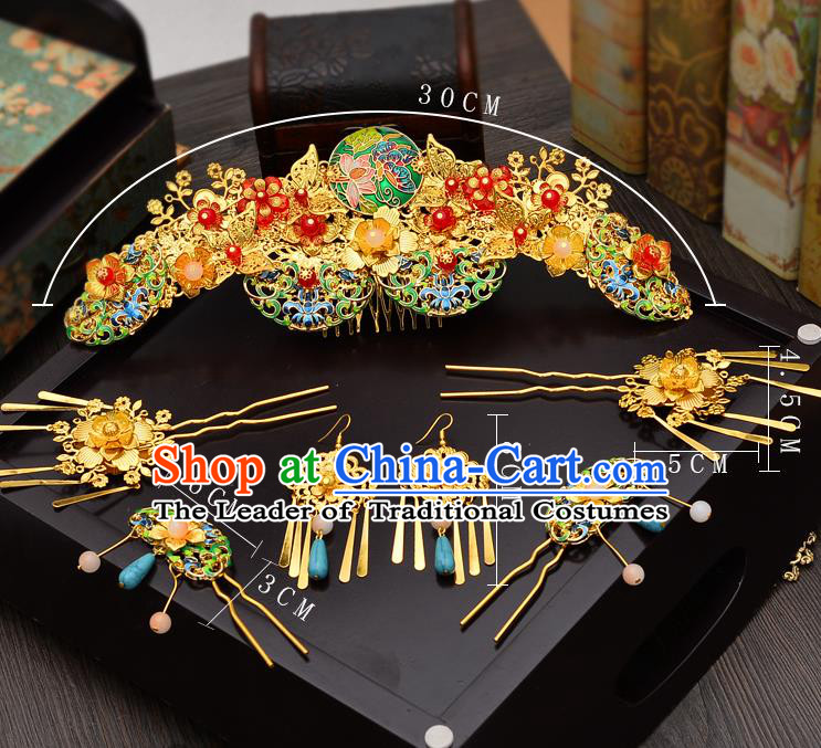 Traditional Handmade Chinese Ancient Classical Hair Accessories Xiuhe Suit Hairpin Cloisonn Lotus Phoenix Coronet Complete Set, Hair Sticks Hair Jewellery Hair Fascinators for Women