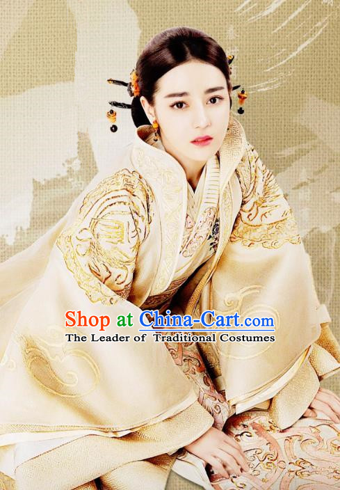 Traditional Ancient Chinese Qin Dynasty Imperial Concubine Embroidery Costume and Headpiece Complete Set, Chinese The King Woman Palace Lady Hanfu Clothing for Women