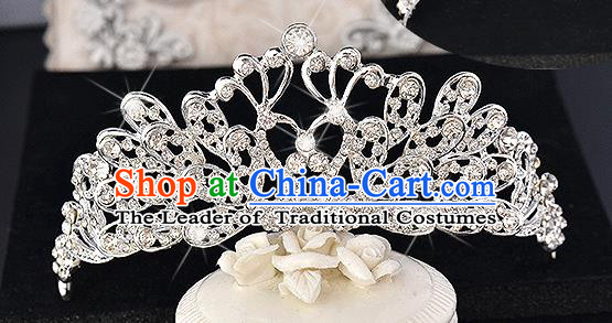 Top Grade Handmade Chinese Classical Hair Accessories Baroque Style Crystal Swan Princess Royal Crown, Hair Sticks Hair Jewellery Hair Clasp for Women