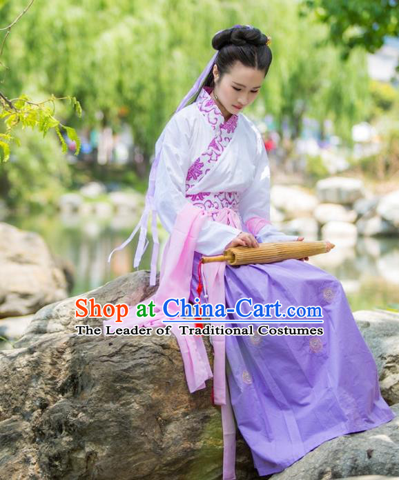 Traditional Chinese Han Dynasty Young Lady Costume, China Ancient Hanfu Dress Princess Embroidery Clothing for Women