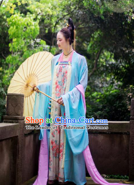 Traditional Chinese Tang Dynasty Imperial Consort Hanfu Costume, China Ancient Dress Palace Princess Peri Embroidery Clothing for Women