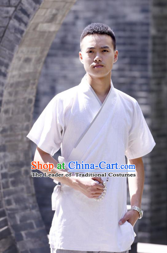 Traditional Chinese Han Dynasty Nobility Childe Hanfu Costume Slant Opening White Shirt, China Ancient Martial Arts Upper Garment Clothing for Men