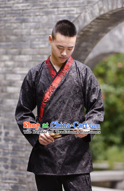 Traditional Chinese Han Dynasty Nobility Childe Hanfu Costume Slant Opening Black Shirt, China Ancient Martial Arts Upper Garment Clothing for Men