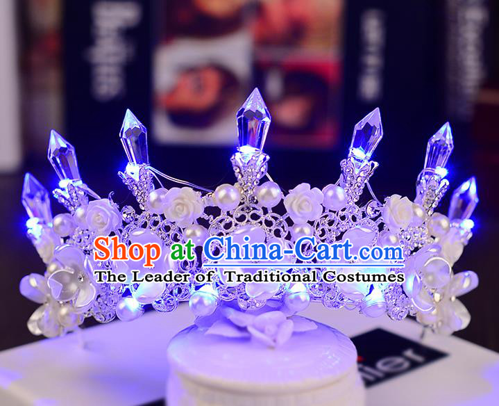 Top Grade Handmade Chinese Classical Hair Accessories Baroque Style Shine Crystal Queen Royal Crown, Hair Sticks Hair Jewellery Hair Clasp for Women
