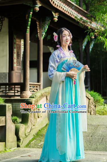 Traditional Chinese Tang Dynasty Imperial Consort Hanfu Costume, China Ancient Dress Palace Princess Embroidery Clothing for Women