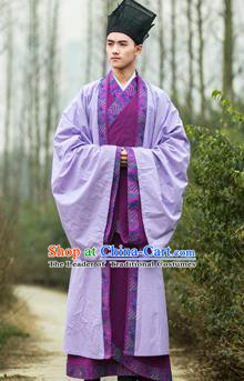 Traditional Chinese Han Dynasty Nobility Childe Hanfu Costume Purple Long Robe, China Ancient Scholar Cloak Clothing for Men