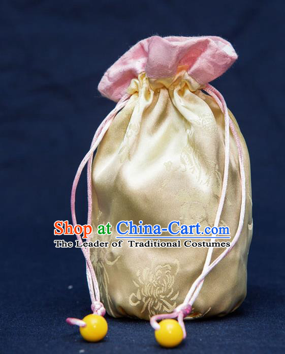 Traditional Handmade Chinese Ancient Young Lady Pouch Yellow Handbags, China Hanfu Embroidery Satin Sachet for Women