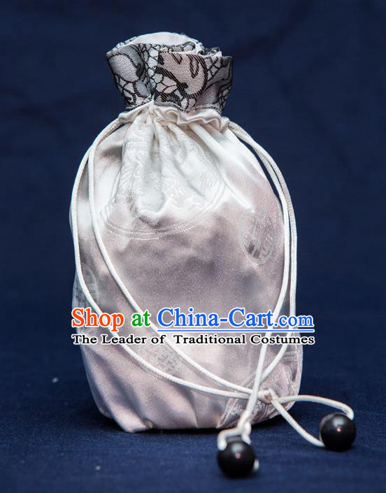 Traditional Handmade Chinese Ancient Young Lady Pouch Grey Handbags, China Hanfu Embroidery Satin Sachet for Women