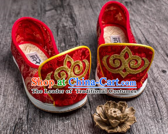 Traditional Chinese Ancient Wedding Cloth Shoes, China Princess Red Satin Shoes Hanfu Handmade Embroidery Become Warped Head Shoe for Women