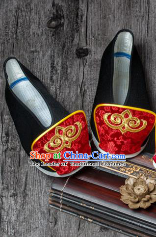 Traditional Chinese Ancient Wedding Cloth Shoes, China Princess Black Satin Shoes Hanfu Handmade Embroidery Become Warped Head Shoe for Women