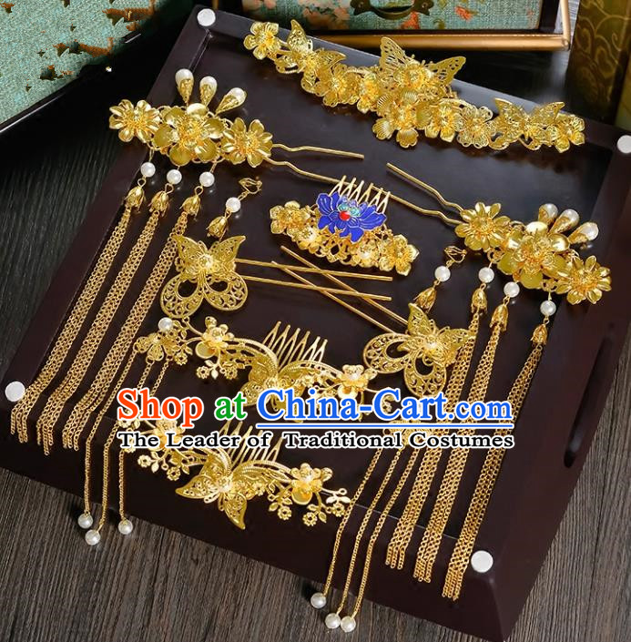 Traditional Handmade Chinese Ancient Classical Hair Accessories Xiuhe Suit Cloisonn Golden Tassel Hairpin Phoenix Coronet Complete Set, Hair Sticks Hair Jewellery Hair Fascinators for Women