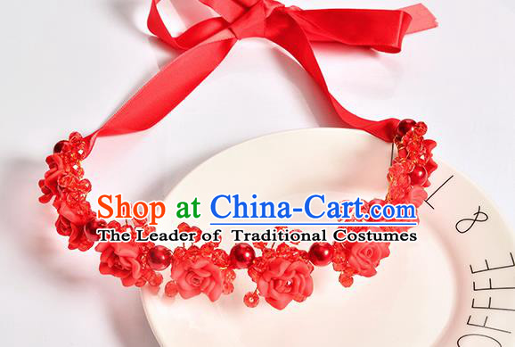 Top Grade Handmade Chinese Classical Hair Accessories Baroque Style Wedding Red Rose Flowers Headband Bride Hair Clasp for Women