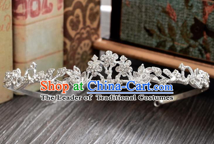 Top Grade Handmade Chinese Classical Hair Accessories Baroque Style CZ Diamond Wedding Royal Crown, Bride Princess Hair Jewellery Hair Clasp for Women