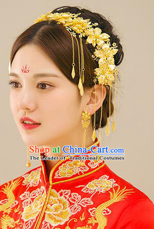 Traditional Handmade Chinese Ancient Wedding Hair Accessories Xiuhe Suit Tassel Step Shake Phoenix Coronet Complete Set, Bride Hair Sticks Hair Jewellery for Women