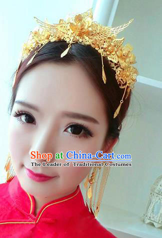 Traditional Handmade Chinese Ancient Wedding Hair Accessories Xiuhe Suit Golden Tassel Step Shake Phoenix Coronet Complete Set, Bride Hair Sticks Hair Jewellery for Women