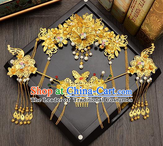 Traditional Handmade Chinese Ancient Wedding Hair Accessories Xiuhe Suit Golden Pearls Tassel Step Shake Phoenix Coronet Complete Set, Bride Hair Sticks Hair Jewellery for Women