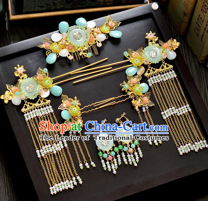 Traditional Handmade Chinese Ancient Wedding Hair Accessories Xiuhe Suit Pearls Tassel Hair Comb Complete Set, Bride Hanfu Hair Sticks Hair Jewellery for Women