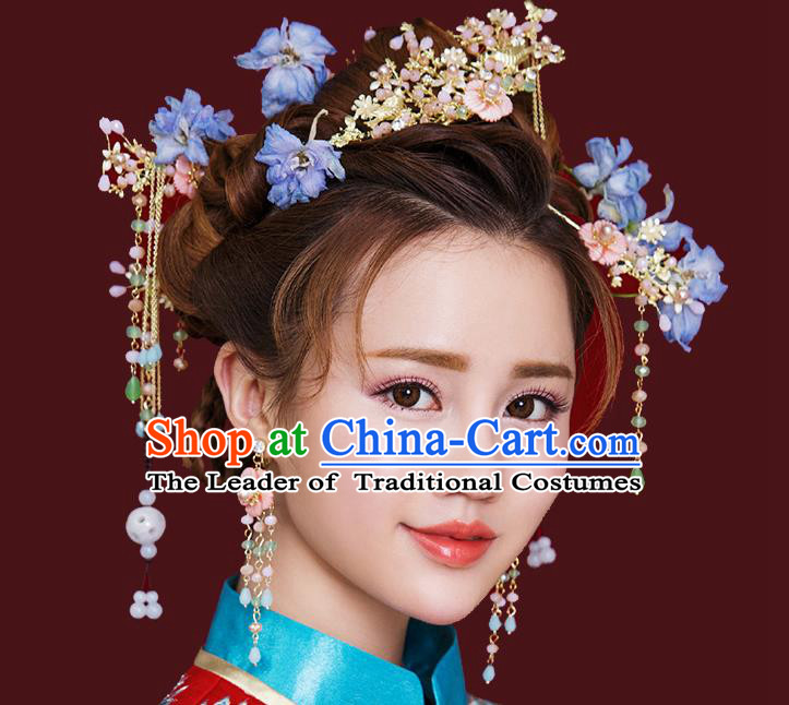 Traditional Handmade Chinese Ancient Wedding Hair Accessories Xiuhe Suit Pink Flowers Phoenix Coronet Complete Set, Bride Tassel Step Shake Hanfu Hairpins Hair Sticks Hair Jewellery for Women