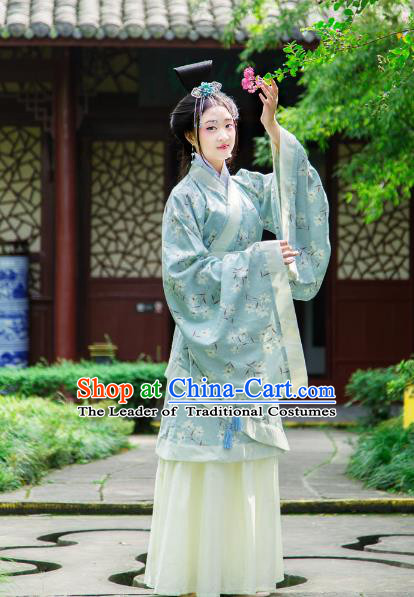 Traditional Chinese Han Dynasty Imperial Consort Hanfu Costume Curve Bottom, China Ancient Dress Palace Princess Peri Printing Clothing for Women