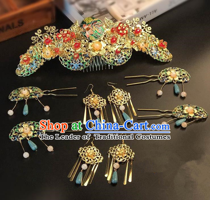 Traditional Handmade Chinese Ancient Classical Hair Accessories Xiuhe Suit Cloisonn Hairpin Phoenix Coronet Complete Set, Step Shake Hair Sticks Hair Jewellery for Women