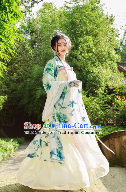 Traditional Chinese Tang Dynasty Imperial Consort Hanfu Costume, China Ancient Green Dress Palace Princess Peri Printing Clothing for Women