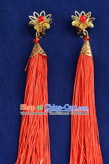 Top Grade Handmade Chinese Classical Jewelry Accessories Xiuhe Suit Wedding Earrings Bride Red Tassel Eardrop for Women