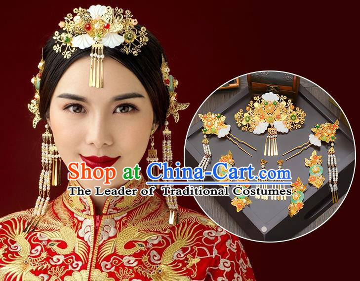 Traditional Handmade Chinese Ancient Wedding Hair Accessories Xiuhe Suit White Shell Tassel Phoenix Coronet Complete Set, Bride Hair Sticks Hair Jewellery for Women