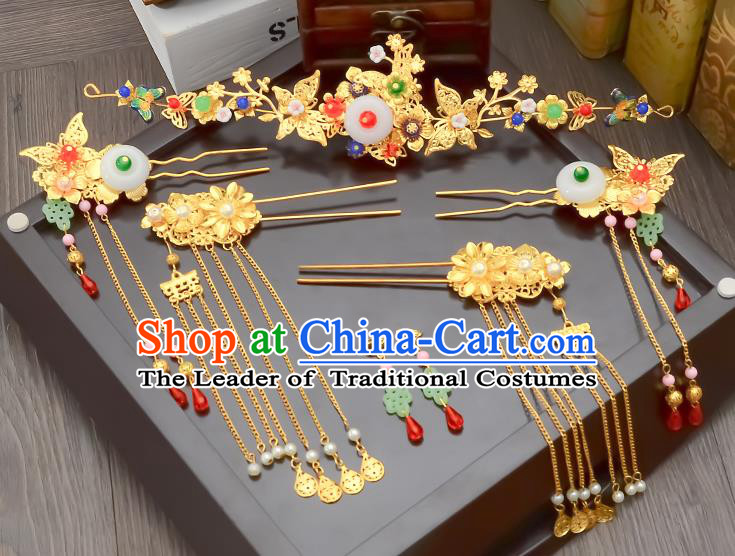 Traditional Handmade Chinese Ancient Wedding Hair Accessories Xiuhe Suit White Jade Tassel Phoenix Coronet Complete Set, Bride Hair Sticks Hair Jewellery for Women