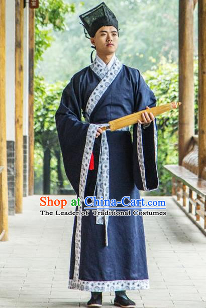 Traditional Chinese Han Dynasty Nobility Childe Hanfu Curve Bottom Costume, China Ancient Scholar Clothing for Men