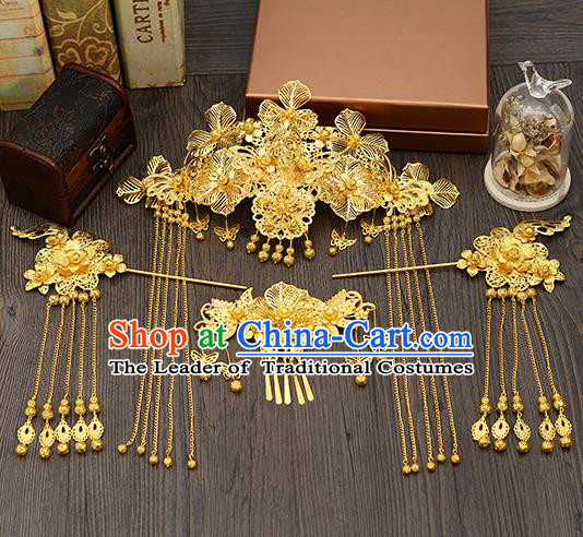 Traditional Handmade Chinese Ancient Wedding Hair Accessories Xiuhe Suit Golden Butterfly Tassel Step Shake Phoenix Coronet Complete Set, Bride Hair Sticks Hair Jewellery for Women
