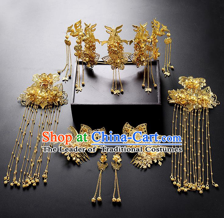 Traditional Handmade Chinese Ancient Wedding Hair Accessories Xiuhe Suit Tassel Phoenix Coronet Complete Set, Bride Hanfu Hair Sticks Hair Jewellery for Women